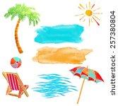 watercolor summer beach set.... | Shutterstock .eps vector #257380804