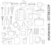 linear illustration of kitchen... | Shutterstock .eps vector #257381239