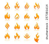 set of 16 flame and fire vector ... | Shutterstock .eps vector #257381614