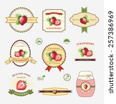 strawberry  set of label design ... | Shutterstock .eps vector #257386969