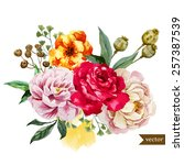 watercolor  flower  peony  rose ... | Shutterstock .eps vector #257387539