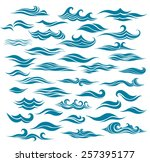 set stylized waves from element ... | Shutterstock .eps vector #257395177