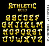 athletic gold bold serif font.... | Shutterstock .eps vector #257404861