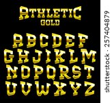 athletic gold bold serif font.... | Shutterstock .eps vector #257404879