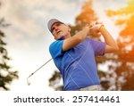 golfer shooting a golf ball | Shutterstock . vector #257414461
