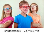 group of funny cute kids with... | Shutterstock . vector #257418745