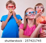 group portrait of funny kids... | Shutterstock . vector #257421745