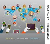 social network concept.  flat... | Shutterstock .eps vector #257431939