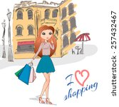 girl with shopping bags on the... | Shutterstock .eps vector #257432467