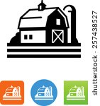 barn with silo icon | Shutterstock .eps vector #257438527