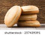 the burger buns on wooden...   Shutterstock . vector #257439391
