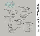 kitchen vintage kit | Shutterstock .eps vector #257442034