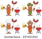 sausage cartoon mascot... | Shutterstock . vector #257451541