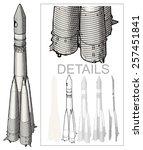 Retro Space Rocket At Engravin...