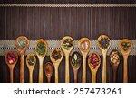 different types of tea in... | Shutterstock . vector #257473261