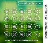 multimedia icons on blurred... | Shutterstock .eps vector #257488345