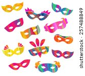 set of carnival masks different ... | Shutterstock .eps vector #257488849