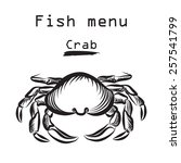 Crab Icon. Sea Food Menu Label...