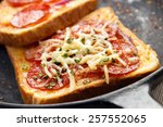 hot sandwiches with pepperoni... | Shutterstock . vector #257552065
