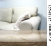 desk of gray color and sofa  | Shutterstock . vector #257554279