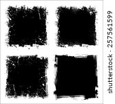 set of four black grunge square ... | Shutterstock .eps vector #257561599