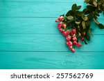 bouquet of roses on blue wooden ...