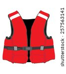 Red Life Jacket Vector Isolate...
