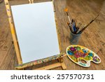 Easel Palette And Brushes With...