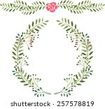 watercolor wreath | Shutterstock .eps vector #257578819