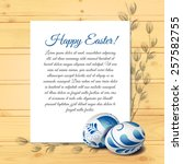 easter card with realistic eggs ... | Shutterstock .eps vector #257582755
