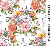 spring floral seamless... | Shutterstock . vector #257585155