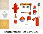 colorful vintage flat icon set... | Shutterstock .eps vector #257593921