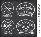 hunting and fishing vintage... | Shutterstock .eps vector #257600365