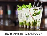 Stock photo mojito cocktail on a bar counter 257600887