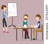 three people meeting in the co... | Shutterstock .eps vector #257615497