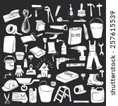 vector doodle set of house... | Shutterstock .eps vector #257615539