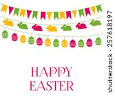 easter vector greeting card... | Shutterstock .eps vector #257618197