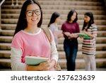 group of happy teen high school ... | Shutterstock . vector #257623639