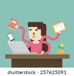 woman secretary hard working   Shutterstock .eps vector #257625091