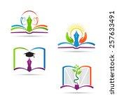 education book logo vector...   Shutterstock .eps vector #257633491