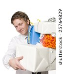 Man with gifts - stock photo
