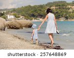 woman following her child on... | Shutterstock . vector #257648869