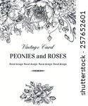 vintage floral card with garden ... | Shutterstock .eps vector #257652601