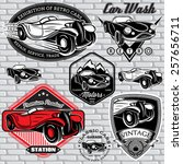 set of vector emblems with... | Shutterstock .eps vector #257656711