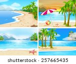 four scenes of beaches | Shutterstock .eps vector #257665435