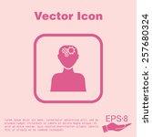 man thinks  the gears in head | Shutterstock .eps vector #257680324