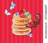 delicious pancakes with... | Shutterstock . vector #257686687