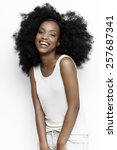 african girl wearing casual... | Shutterstock . vector #257687341
