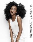 african girl wearing casual... | Shutterstock . vector #257687341