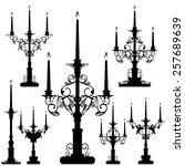 elegant candelabra black and... | Shutterstock .eps vector #257689639